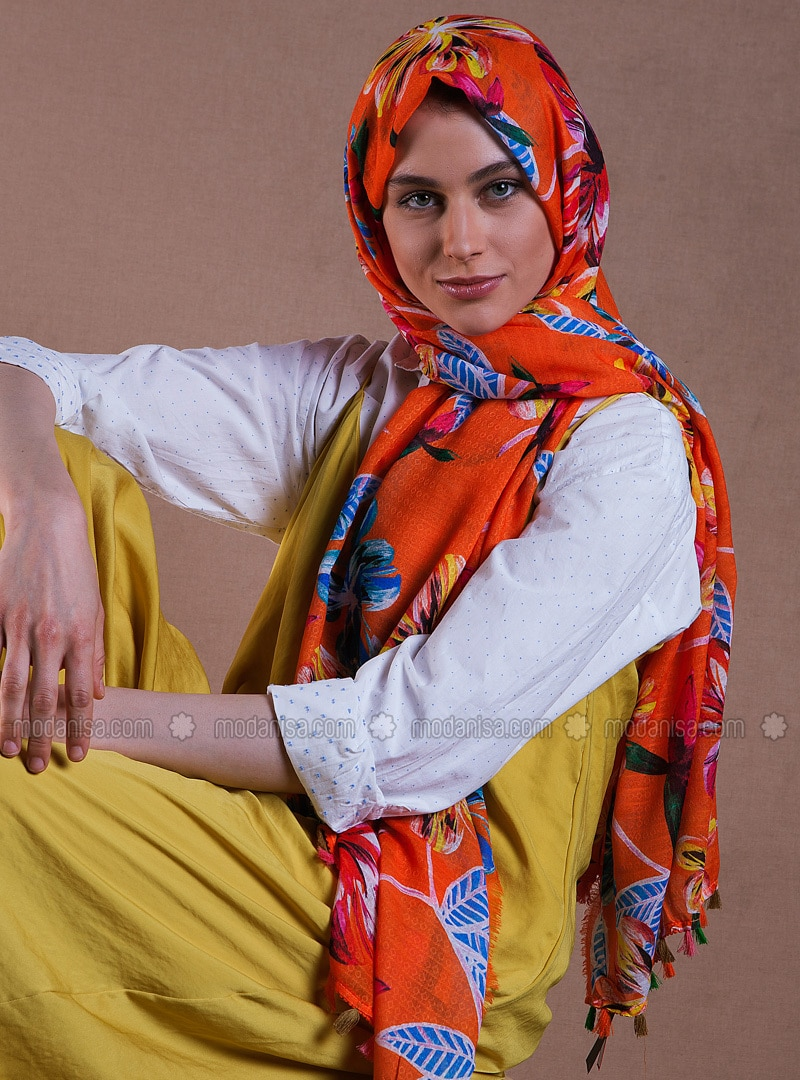 Orange - Printed - Shawl