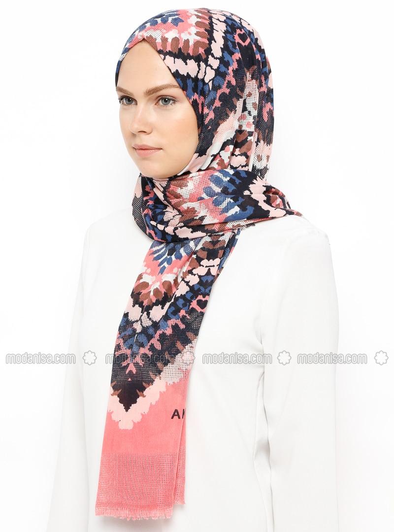 Blue - Pink - Printed - Shawl