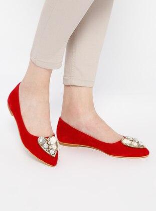 İnan Ayakkabı Babet - Kırmızı Süet