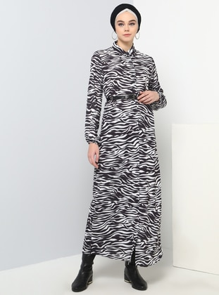 Black - White - Leopard - Zebra - Multi - Point Collar - Unlined - Dresses