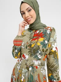 Khaki - Multi - Button Collar - Unlined - Viscose - Dress - BAGİZA