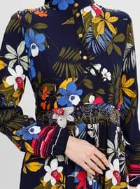 Navy Blue - Multi - Button Collar - Unlined - Viscose - Dress - BAGİZA