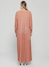 Beige - Tan - Multi - Unlined - Crew neck - Plus Size Dress
