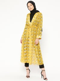 Yellow - Mustard - Multi - V neck Collar - Cardigan