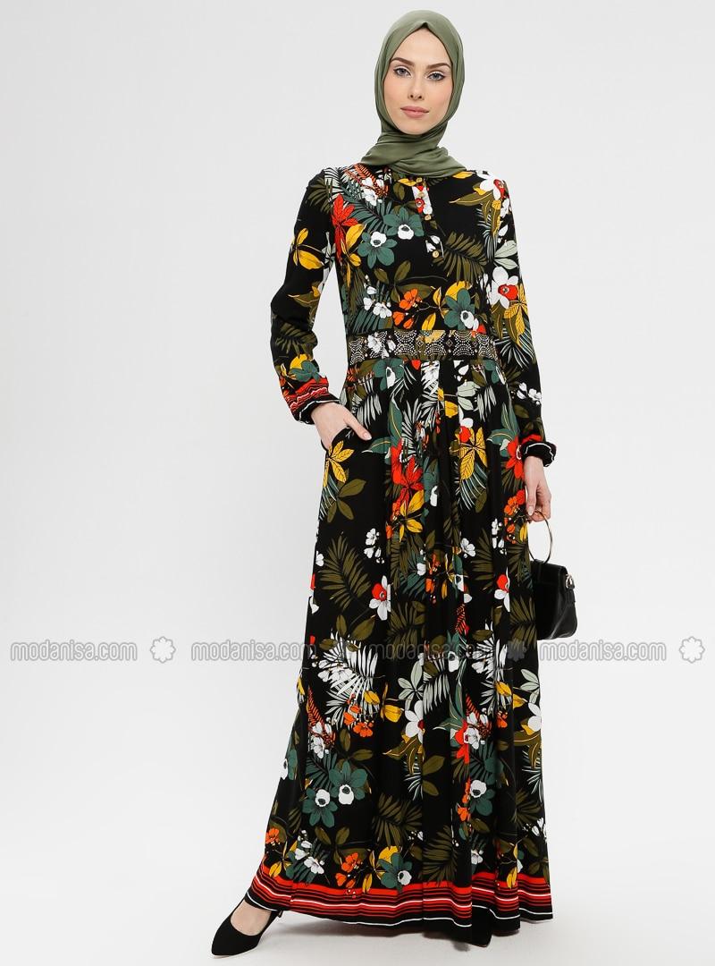 Black - Multi - Button Collar - Unlined - Viscose - Dress - BAGİZA