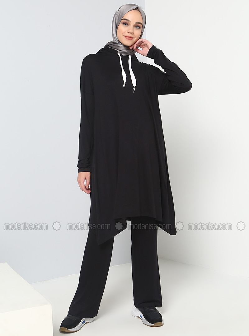 Black - Viscose - Tracksuit Set