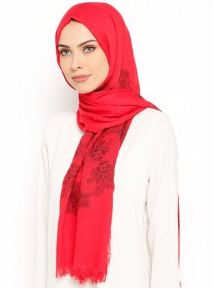 Red - Jacquard - Shawl