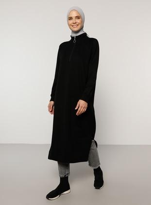 Zipper Detailed Sweatshirt - Black - Everyday Basic