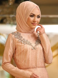 Powder - Salmon - Fully Lined - Crew neck - Muslim Evening Dress