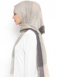 Navy Blue - Beige - Striped - Cotton - Shawl