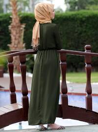 Khaki - Crew neck - Fully Lined - Dresses