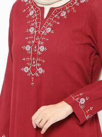 Maroon - V neck Collar - Unlined - Cotton - Dresses