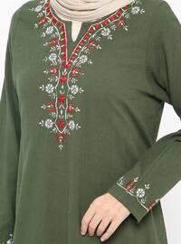 Khaki - V neck Collar - Unlined - Cotton - Dresses