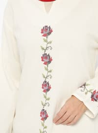 Cream - V neck Collar - Tunic