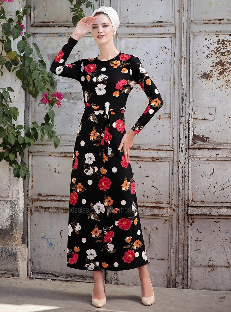 Black - Orange - Floral - Crew neck - Unlined - Dresses