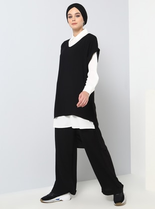 Black - White - Ecru - Unlined - Viscose - Suit
