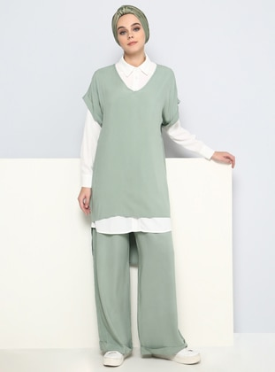 Green - White - Ecru - Unlined - Viscose - Suit