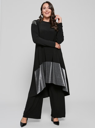 Bol Paça Pantolon - Siyah - Alia Ürün Resmi