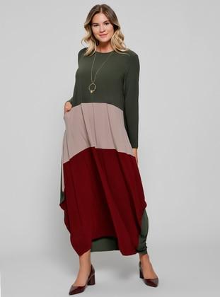 Minc Maroon Khaki Unlined Crew Neck Plus Size Dress