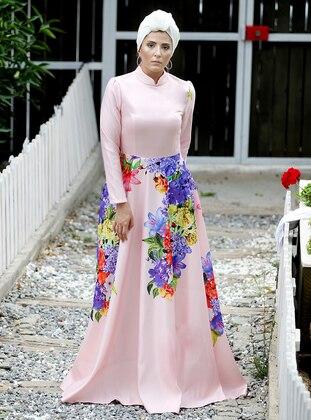 Powder - Floral - Unlined - Crew neck - Viscose - Muslim Evening Dress