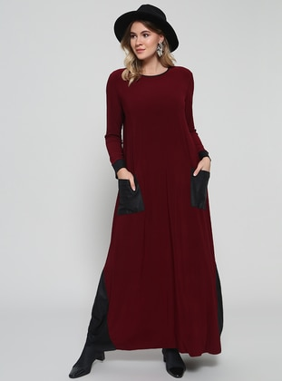 Black Maroon Unlined Crew Neck Muslim Plus Size Evening Dress