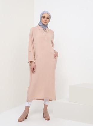 Pink - Point Collar - Viscose - Tunic