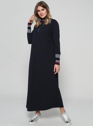 Navy Blue Unlined Polo Neck Plus Size Dress