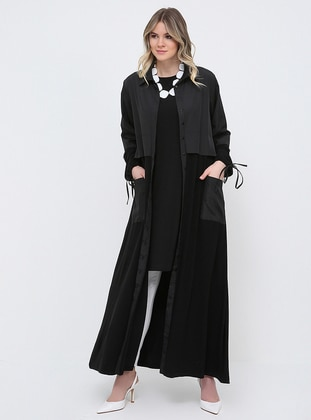 Black - Unlined - Point Collar - Plus Size Trench coat