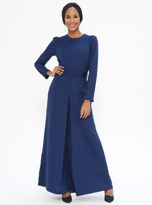 a7a6fe395 أزرق داكن - نيلي - قبة مدورة - نسيج غير مبطن - فستان