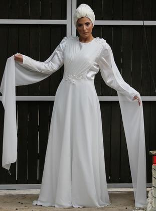 White - Floral - Unlined - Crew neck - Viscose - Muslim Evening Dress