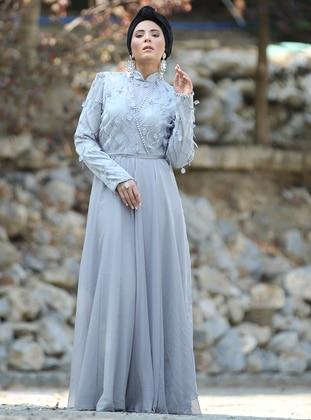 Gray - Floral - Unlined - Crew neck - Viscose - Muslim Evening Dress