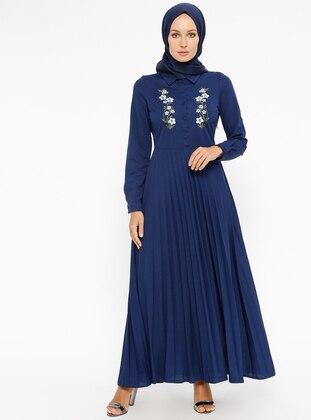847ef55e8 أزرق داكن - قبة بارزة - نسيج غير مبطن - فستان