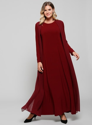 Maroon Unlined Crew Neck Muslim Plus Size Evening Dress
