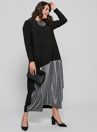 Black - Unlined - Crew neck - Muslim Plus Size Evening Dress - Alia
