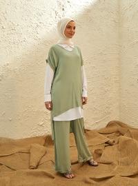 Green - White - Ecru - Unlined - Viscose - Suit