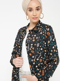 Black - Floral - Point Collar - Unlined - Dresses