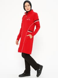 Red - Polo neck - Tracksuit Set