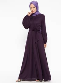 Purple - Unlined - Crew neck - Abaya