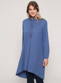 Blue - Navy Blue - Indigo - Crew neck - Plus Size Tunic