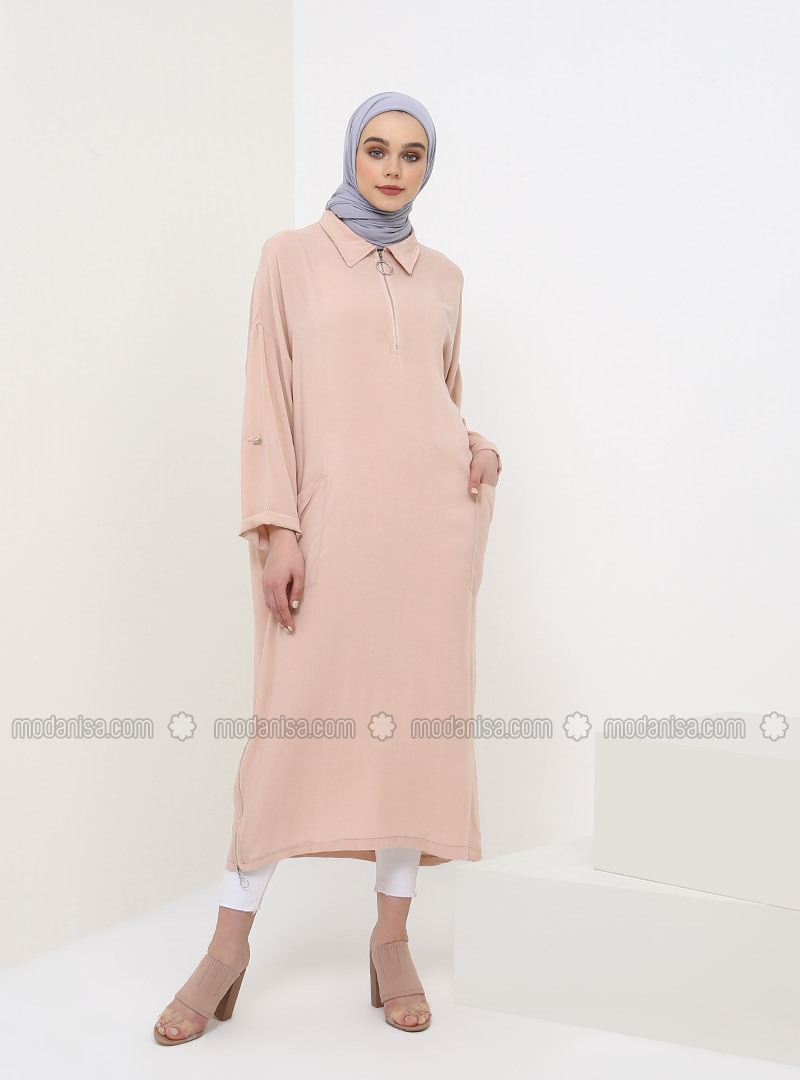 Pink - Point Collar - Viscose - Tunic