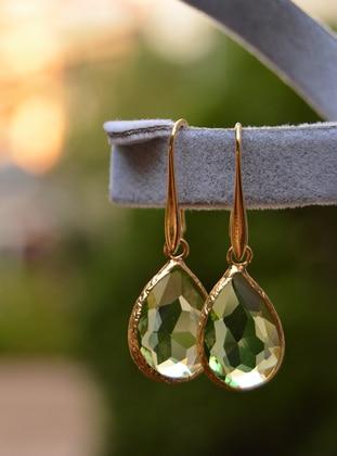 Stoneage Altın Kaplama Küpe - Yeşil