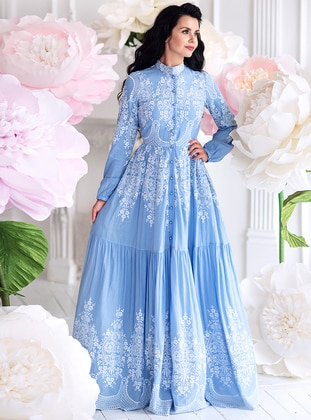 96ccf4459b Blue - Fully Lined - Point Collar - Dress. Muslima Wear