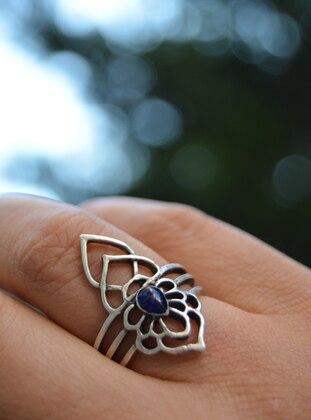 Stoneage Gümüş Kaplama Mineli Yüzük - Gümüş