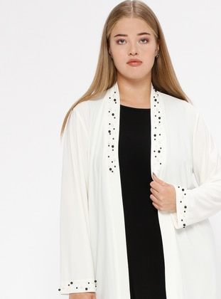 Ecru - Plus Size Cardigan