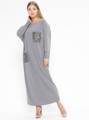 Smoke-coloured - Unlined - Crew neck - Plus Size Dress
