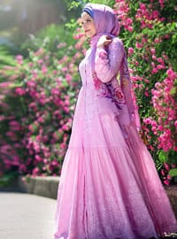 Pink - Fully Lined - Point Collar - Dress