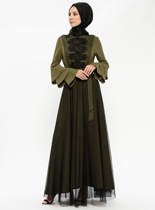 Khaki - Polo neck - Fully Lined - Dresses