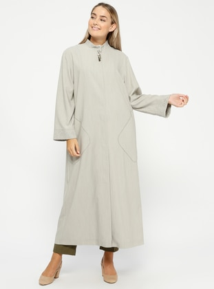 Green - Unlined - Button Collar - Plus Size Coat