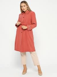 Terra Cotta - Unlined - Point Collar - Plus Size Coat