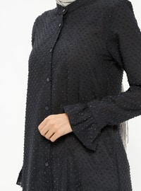 Navy Blue - Button Collar - Tunic
